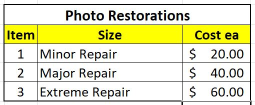 Pricing - Restoration prices Depending on what you are planning on doing with the file once the photo has been restored may affect the final price of the restoration. I will work with you to ensure you achieve the outcome you need.