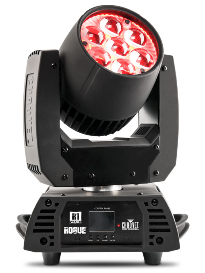 """CHAUVET ROGUE R1 WASH - Rogue R1 Wash distinguishes itself by offering a combination of performance features unique to its price class. Powered by seven RGBW 15 W quad-LEDs, this bright and versatile moving wash zoom fixture features a unique """"bubble"""" lens design for excellent color rendering and stunning visual effects. Other standout features include an incredible 11° to 48° zoom angle, incredibly fast and smooth pan and tilt movements, simple and complex DMXchannel profiles, plus 3-pin and 5-pin DMX connectors. Versatility, value and performance make this fixture a welcome addition to any touring rig or permanent installation.VIDEO"""