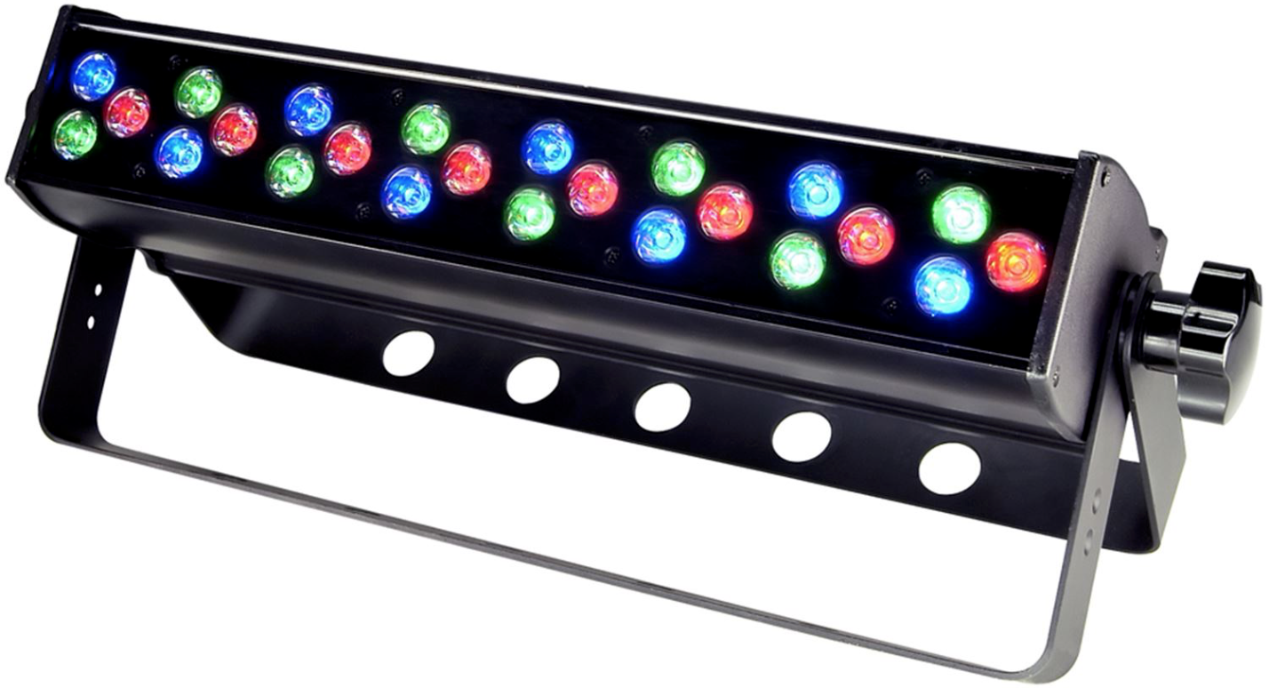 CHAUVET COLOR DASH BATTEN - The Chauvet COLORdash Batten is a linear LED wash light intended for architectural up lighting, stage and set lighting, DJs, bands and more. The COLORdash Batten is fitted with 24 high-powered LEDs capable of providing an array of color washes and textures without heat. There 3, 4, 10 and 12 channel DMX modes that include RGB control, dimming, strobe control and more. The double yoke bracket is designed for overhead or floor mounting, and multiple units may be chained together for larger applications.