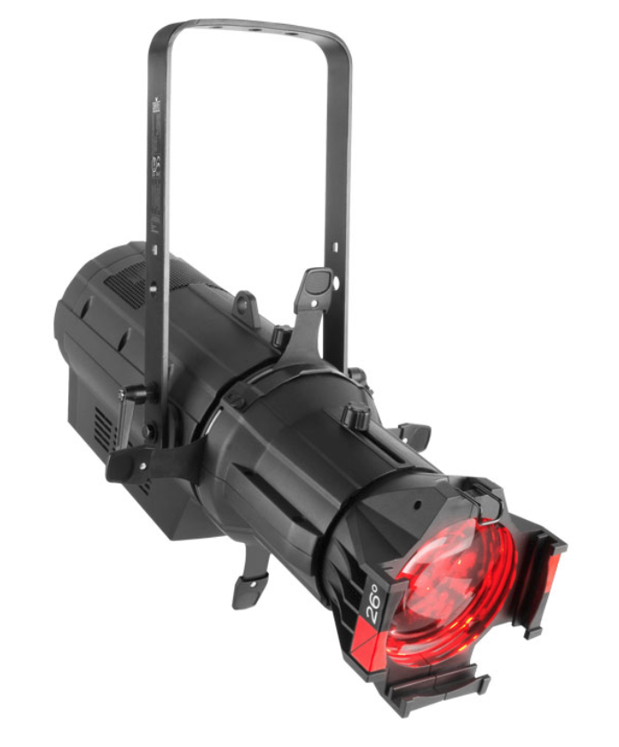 CHAUVET OVATION E910 LED LEKO - Ovation E-910FC is a high-performance ERS-style fixture with full RGBA-Lime color mixing and Color Temperature presets of 2800 to 6500 K that match the output of a tungsten source to perfection. Control options include full 16-bit dimming (per color and master), selectable PWM, RDM and onboard dimming curve selection. Also accessible is our Virtual Color Wheel which matches popular gel colors.VIDEO