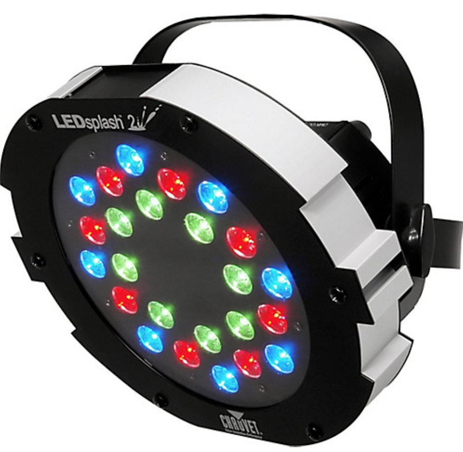 CHAUVET COLOR SPLASH 2 - The Chauvet LEDsplash 2 color wash stage light can be used with Chauvet's LED Shadow, LED Shadow II, LED Techno Strobe. LED Techno Strobe RGB, or COLORsplash 200B fixures in standalone for more dynamic color displays, or on its own for highlighting the nuances of your architectural designs. It is a 6-channel, DMX-512-compliant fixture with blackout, dimmer, static, and strobe options as well as RGB mixing between the 8 red, 8 green, and 8 blue high-powered LEDs. It has built-in automated and sound activated programs via master/slave or DMX.