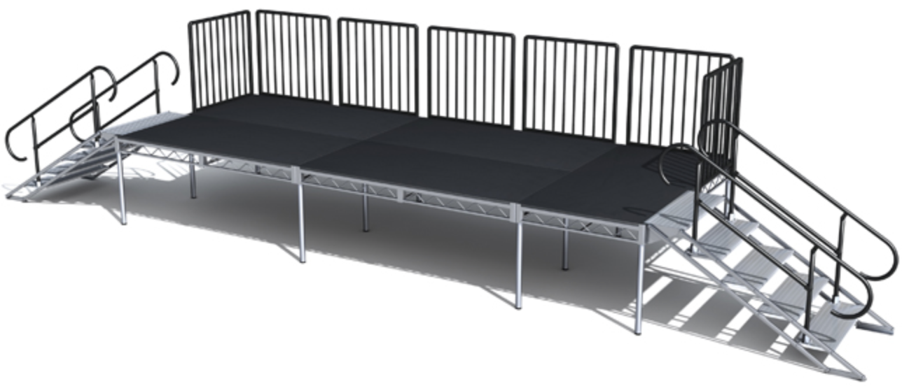 STEEL DECK STAGING - STAGE DECK RAILINGSTAIR UNITSCUSTOM STAGE DESIGN & FABRICATIONACRYLIC STAGE TOPS