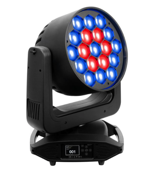 Elation Platinum 7 - The Platinum SEVEN™ is a patent pending high power 7 color wash luminaire, featuring (19) 25W multi-chip LEDs including Red, Green, Blue, White, Amber, Cyan, and UV. Features include a fast 5° to 50° beam angle zoom range, advanced high efficiency low noise cooling and movement control systems, silent mode which reduces fan noise by over 25% decibels, (3) pixel ring control, color-pixel zone and color preset macro effects, CRI presets (85, 90, 95), linear color temperature presets (2,700 - 8,000K), linear dimming and selectable dimming curves, flicker free operation for TV and FILM, adjustable refresh rate frequency and GAMMA brightness, DMX, RDM (Remote Device Management), KlingNET™, Art-NET, and sACN support, 5pin DMX, RJ45 Ethernet, and powerCON TRUE1 in/out connections, (6) button control full color 180° reversible menu display, and a multi-voltage universal auto switching power supply (100-240v)VIDEO