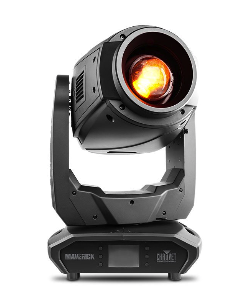 Chauvet Maverick MK2 Profile - Maverick MK2 Profile delivers ultimate artistic precision via its advanced 4-blade dual position rotating framing system, a stunningly bright 440 W LED engine, two 6-position rotating slot and lock gobo wheels, CMY + CTO color mixing, a 7-position + white color wheel, variable frost, 3-facet prism, and a 13° to 37° zoom rangeVIDEO