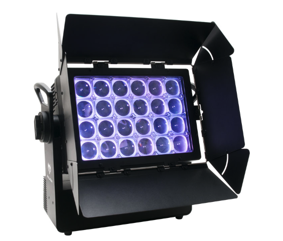 ELATION PALADIN - PALADIN™ is an IP65 rated strobe wash blinder luminaire with motorized zoom. Featuring (24) high power 40W 4-in-1 RGBW LEDs, 6° to 32° motorized zoom, manual tilt adjustment, pixel zone control, 64 color presets and 15 unique color macros, electronic strobe, 16-bit dimming and variable dimming curve modes, DMX and RDM (Remote Device Management) protocol support, IP rated 5pin DMX and powerCON TRUE1 in/out connections, (4) button LCD control display panel, and a multi-voltage universal auto switching power supply (100-240v).VIDEO