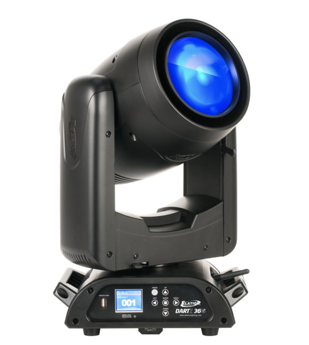 ELATION DARTZ 360 - The DARTZ 360™ is a unique, compact, narrow beam luminaire featuring a new patent pending single source 50W RGB LED engine producing an impressive 3° aperture, amazing high output level, and smooth color-mixed effects that can be used in a variety of applications requiring no minimum safe project distance as with typical discharge lamp beam fixtures, fast and precise 16-bit continuous 360° pan and tilt rotation, 14 static-stamped metal gobos, 6-facet linear and 8-facet independent rotating prisms, 0-100% linear frost filter for wash effects, high speed electronic shutter and strobe, electronic dimming and variable dimming curve modes, adjustable LED refresh rate and gamma brightness for flicker free operation for TV and FILM, DMX, RDM (Remote Device Management), Kling-Net, Art-NET, and sACN protocol support, Elation's E-FLY™ internal wireless DMX transceiver, 5pin XLR, RJ45 etherCON, and powerCON TRUE1 in/out connections, full color 180° reversible menu display with multi-button control panel, battery backup for display power, and a multi-voltage universal auto switching power supply (100-240v).VIDEO