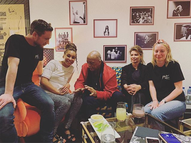 We played Montreux Jazz Fest last night. About 5 minutes after the show Trev, our tour manager says, ' @quincydjones wants to see the brass section downstairs now'. So down we go and meet Quincy Jones, and beside him is @shaniatwain . We shook hands and he said 'you're a great bone player, I loved it!', and on the way out he smiled and said 'don't stop til you get enough!' I'm speechless... and still pinching myself... #quincyjones #shaniatwain #montreuxjazzfestival #brasssection #trombone #coolisbac