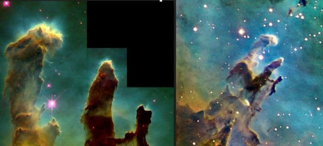 """Figure 1 – Original """"Pillars of Creation"""" (left) and an enlargement of a 2016 T24 image, both in HST palette."""