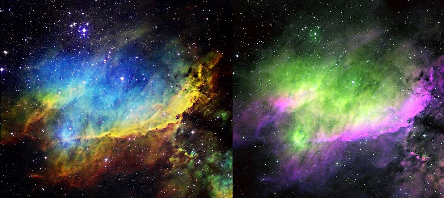 Figure 3 – The same Ha, SII, and OIII frames were combined at the same weightings in HST palette (left) and CFHT palette (right) of IC 4628, the Prawn Nebula. Note that the wavelength-ordered HST palette provides a more pleasing and structured image, particularly of the intersection of Ha and SII gradients at the convexity of the nebula. (2016 T32 image.)