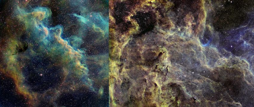 Figure 4 – Narrowband images illustrating the 3-D effect of the HST palette. Outer Eta Carina nebulae from T31 (left); widefield Cygnus nebulae from T14 (right).