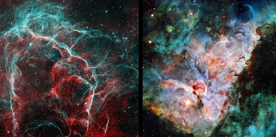 Figure 5 – In supernova remnants, such as the Vela SNR (left), unique structures are seen in OIII and SII emissions, in addition to that of Ha. Also in bright nebulae, such as Eta Carina (right), OIII and SII emissions may be as intense as Ha. In both cases, imaging should be done at 1x1 binning with all narrowband filters. (The bi-color Vela SNR image (OIII in blue, Ha in red) from T8; HST palette image of the Eta Carina core from T27)