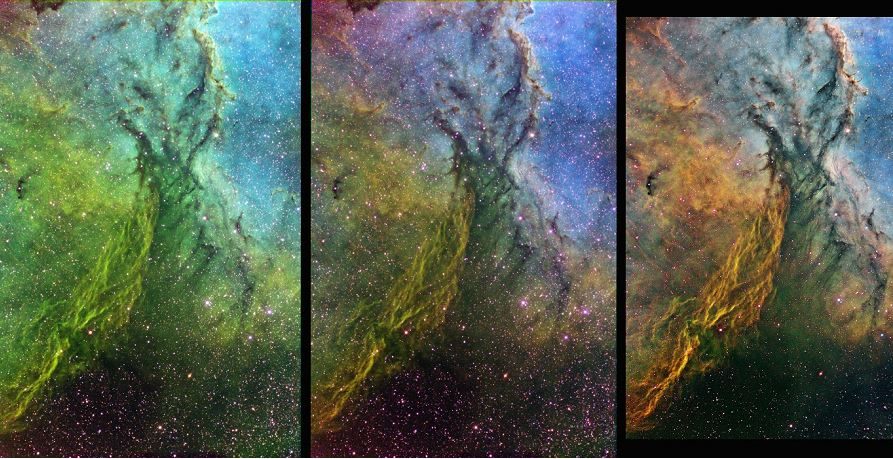 Figure 8 – Combining SII, Ha, and OIII images of NGC 6188 at weighting ratios of 1:1:1 (left), 1.5:1:1.5 (center) and 2:1:1.7 (right). Final adjustments have been made in magenta desaturation, color balance, contrast, star size, sharpening, and cropping in the right most, final image. (T33 image)