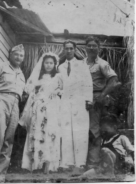Eliza and alejo quinata on their wedding day, 29 July 1945.