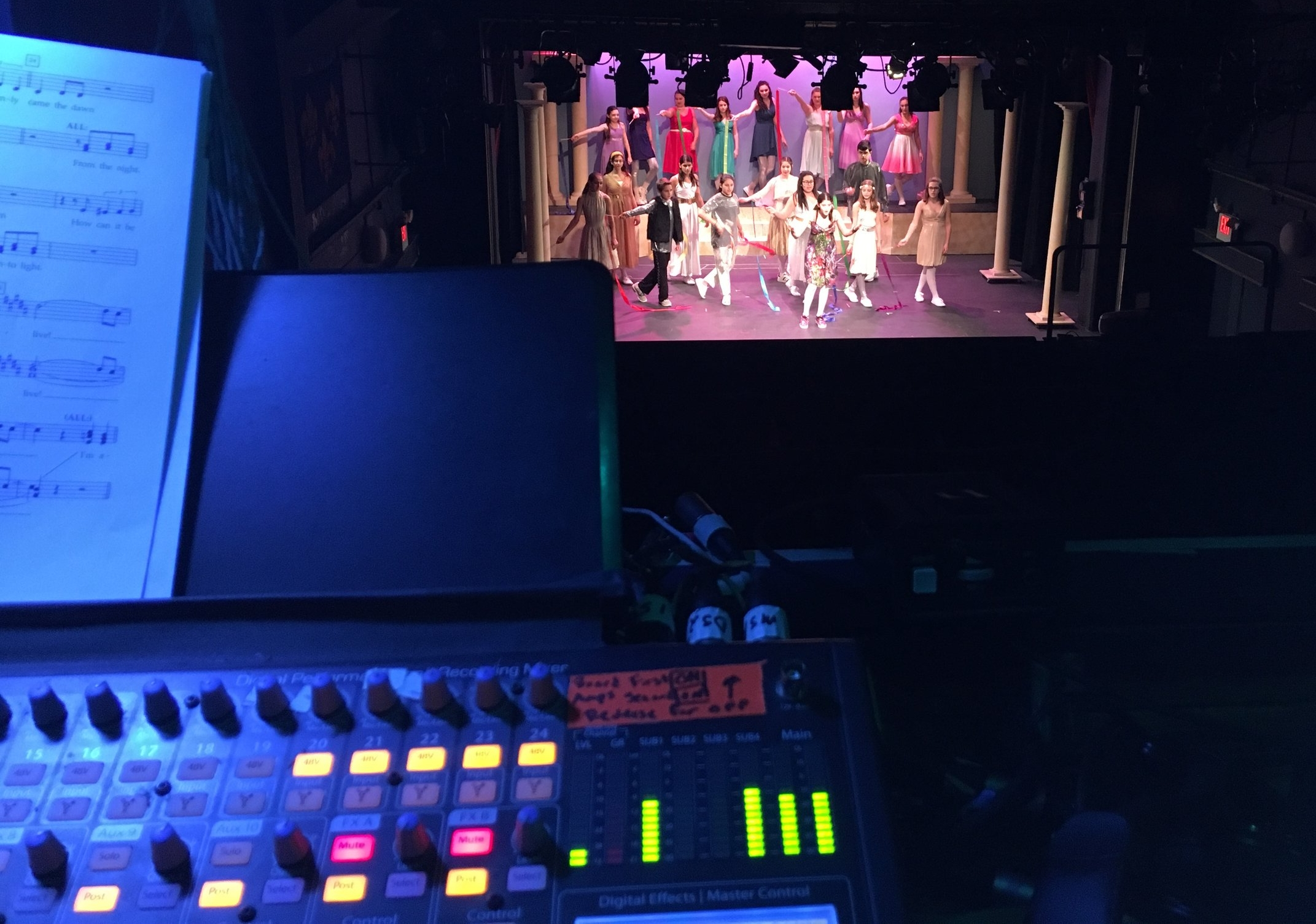 Rehearsal shot from FOH