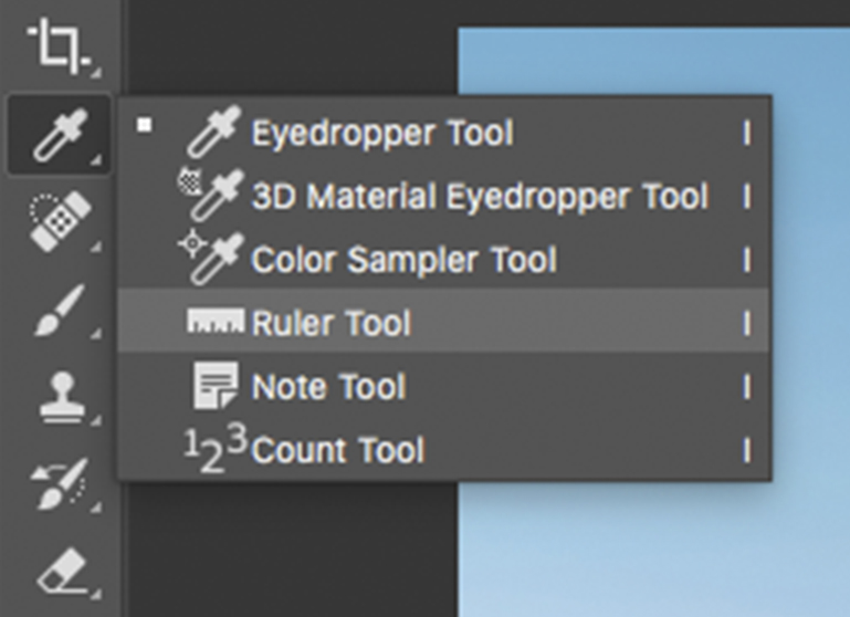 Ruler tool in Photoshop (I on keyboard)
