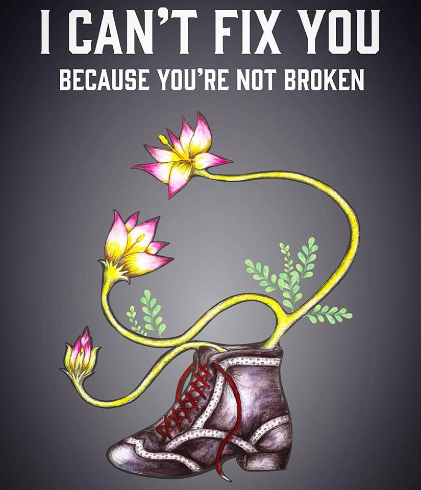 "Cover Art for ""I Can't Fix You - Because You're Not Broken"" by Dr. Jo Eckler, PhD and RYT"