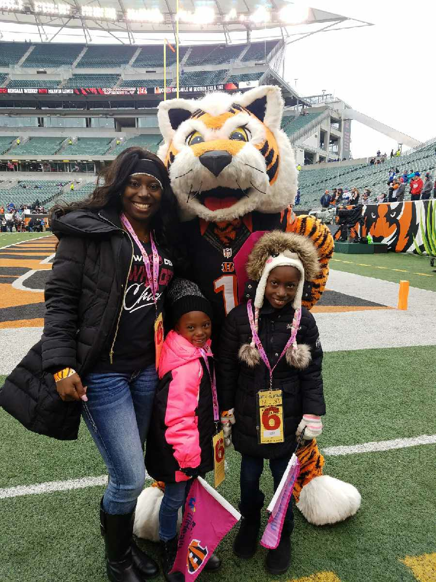 "Who Dey Chick ""Theresa"" at the 2017 Cincinnati Bengals Breast Cancer game"