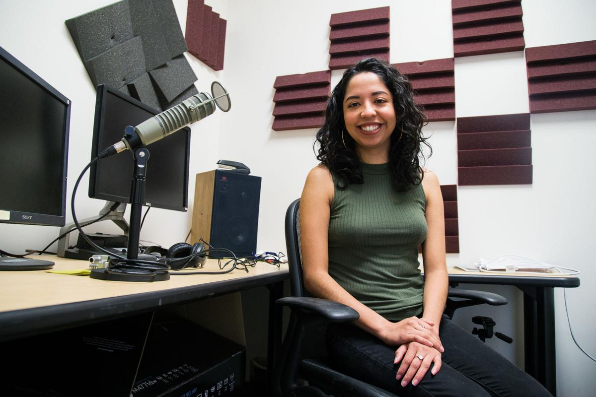 Esmy Jimenez, a Yakima-based reporter for Northwest Public Broadcasting, is photographed in her studio at Yakima Valley Technical Skills Center in Yakima, Wash., Monday, April 2, 2018. Jimenez did not intend on pushing a career in journalism, but after doing some writing online, she changed her plans.  Shawn Gust / Yakima Herald-Republic