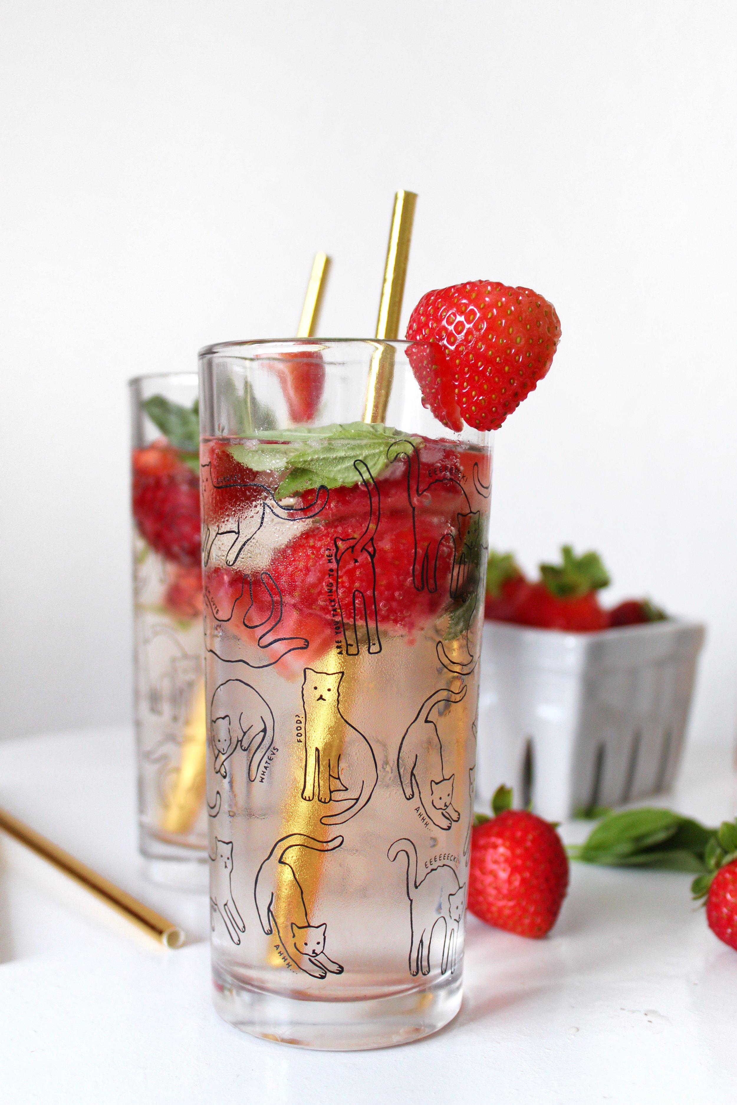 3. Strawberry Basil Rosé Spritzer - via & She's Brave