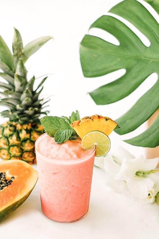 4. Watermelon Papaya Rum Smoothie - via Sugar & Cloth