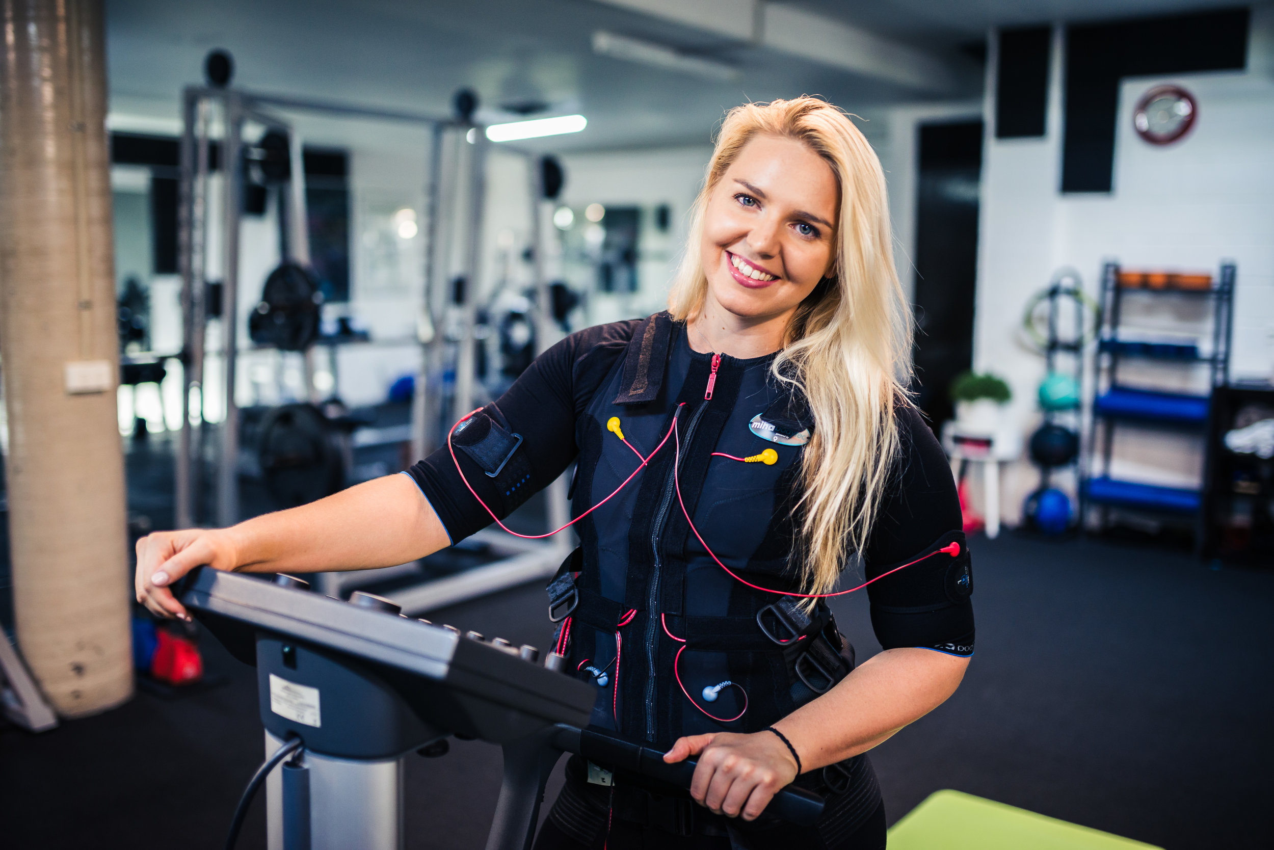 Its calledELECTRO MUSCULAR STIMULATION (EMS)  - EMS uses its own electrical pulses to contract your muscles without you having to put strain on your joints or ligaments to do the work. This is Amazing news for our pelvic floor. The EMS machine automatically strengthens the muscles whilst you pretty much just stand there.