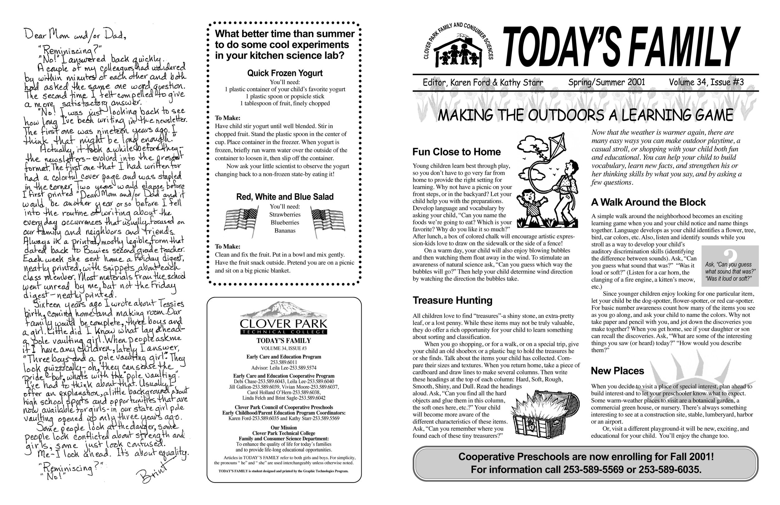 Today's Family Spring/Summer Newsletter  Outside spread, Pages 4 and 1