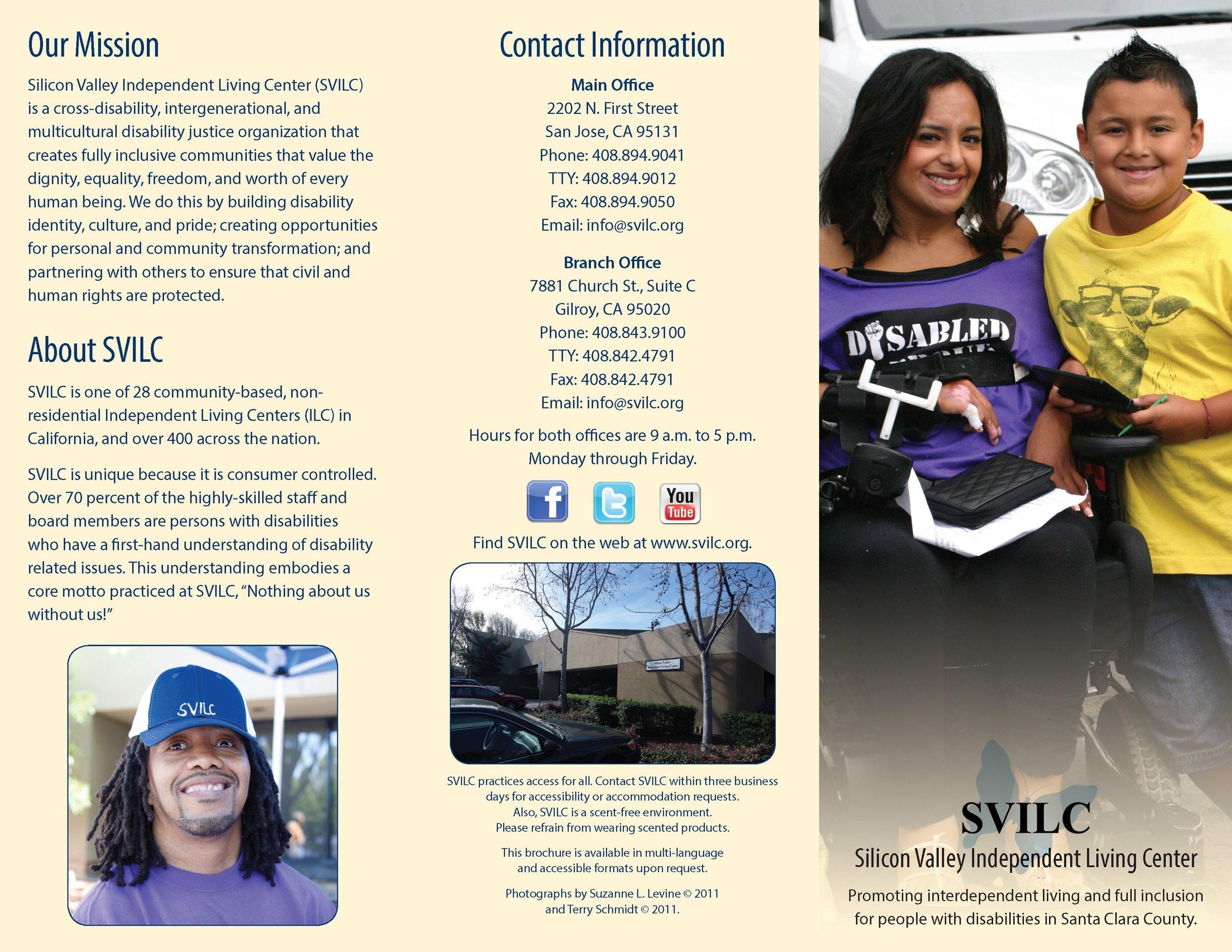 SVILC Brochure  Tri-fold outside spread