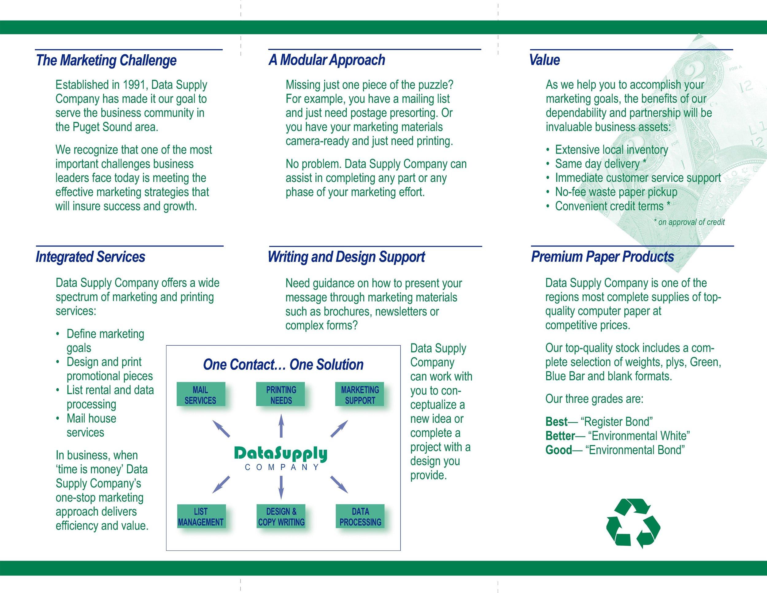 DataSupply Brochure  Tri-fold inside spread