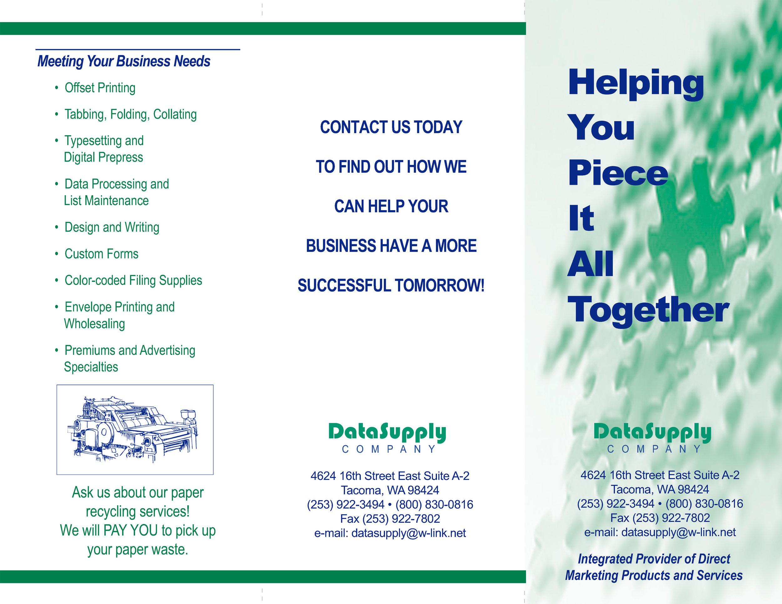 DataSupply Brochure  Tri-fold outside spread