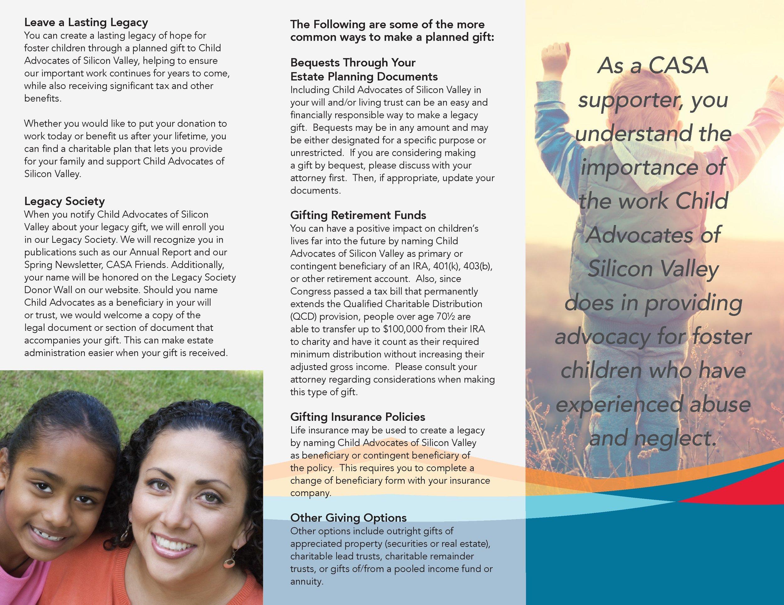 CASA Brochure  Tri-fold inside spread