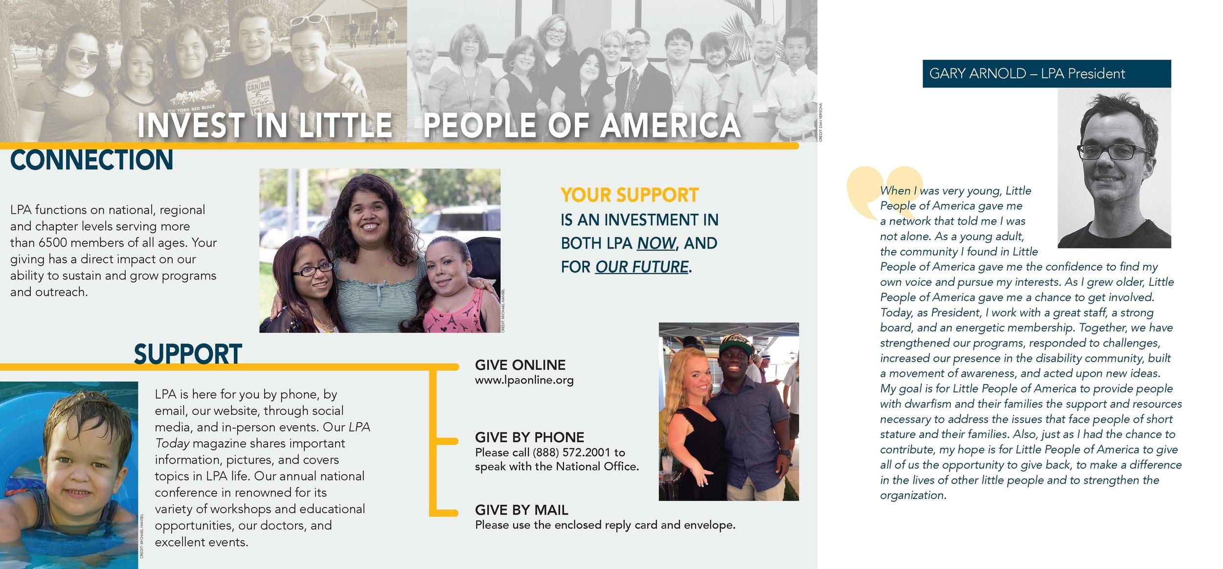 Little People of America Appeal Brochure  Tri-fold inside spread