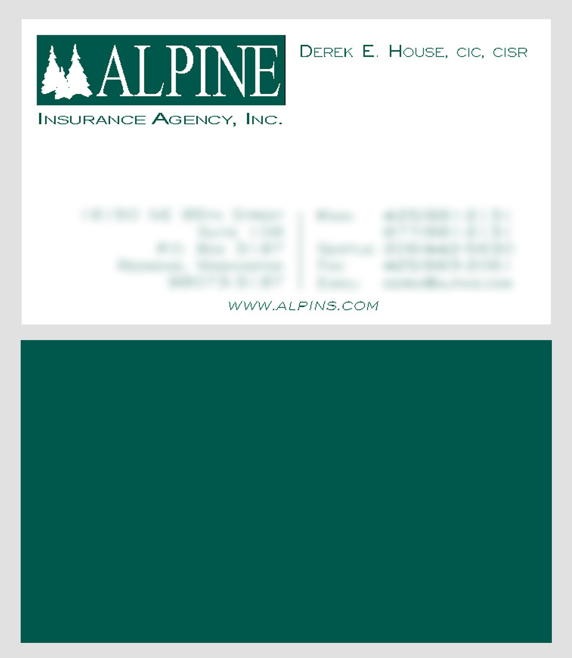 Alpine Insurance Business Card