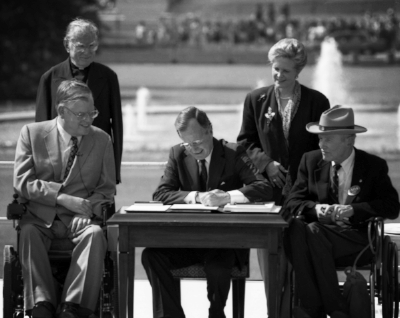 Let the shameful wall of exclusion finally come tumbling down. - — President George W. Bush at the signing of the Americans with Disabilities Act