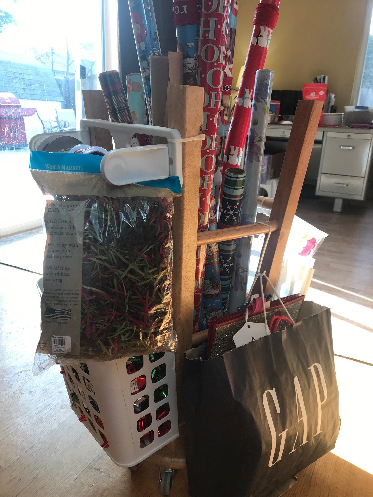 DIY Step Stool Gift Wrap Organizer