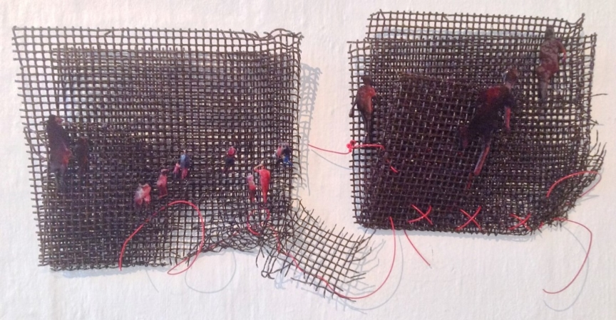 Escape the Net - resin, wire and other - 2 x 30x30