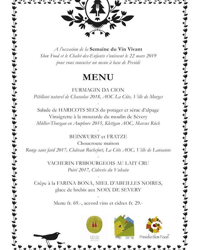 """A vos agendas ! Demain soir, 22 mars, au restaurant le Chalet des Enfants, au Mont-sur-Lausanne. Slow Food et le Chalet des Enfants s'unissent, pour un menu """"Presidio"""", mettant à l'honneur les produits du terroir local, accompagné de vins et cidres suisses. // Plus d'infos : @chaletdesenfants . . Don't miss out! Tomorrow night, Friday, March 22nd, at the restaurant Le Chalet des Enfants, in Le Mont-sur-Lausanne. Slow Food and the Chalet des Enfants unite, to offer you a """"Presidio"""" menu, honouring the local food specialties, paired with Swiss wines and ciders. // More info: @chaletdesenfants . . #vinvivant2019 #vinvivantswitzerland #chaletdesenfants #winefair #naturalwine #swisswine #vinsnaturels #vinonaturale #morethanwine #naturalwineapp #slowfoodromandie @naturalwineapp @morethanwine_"""