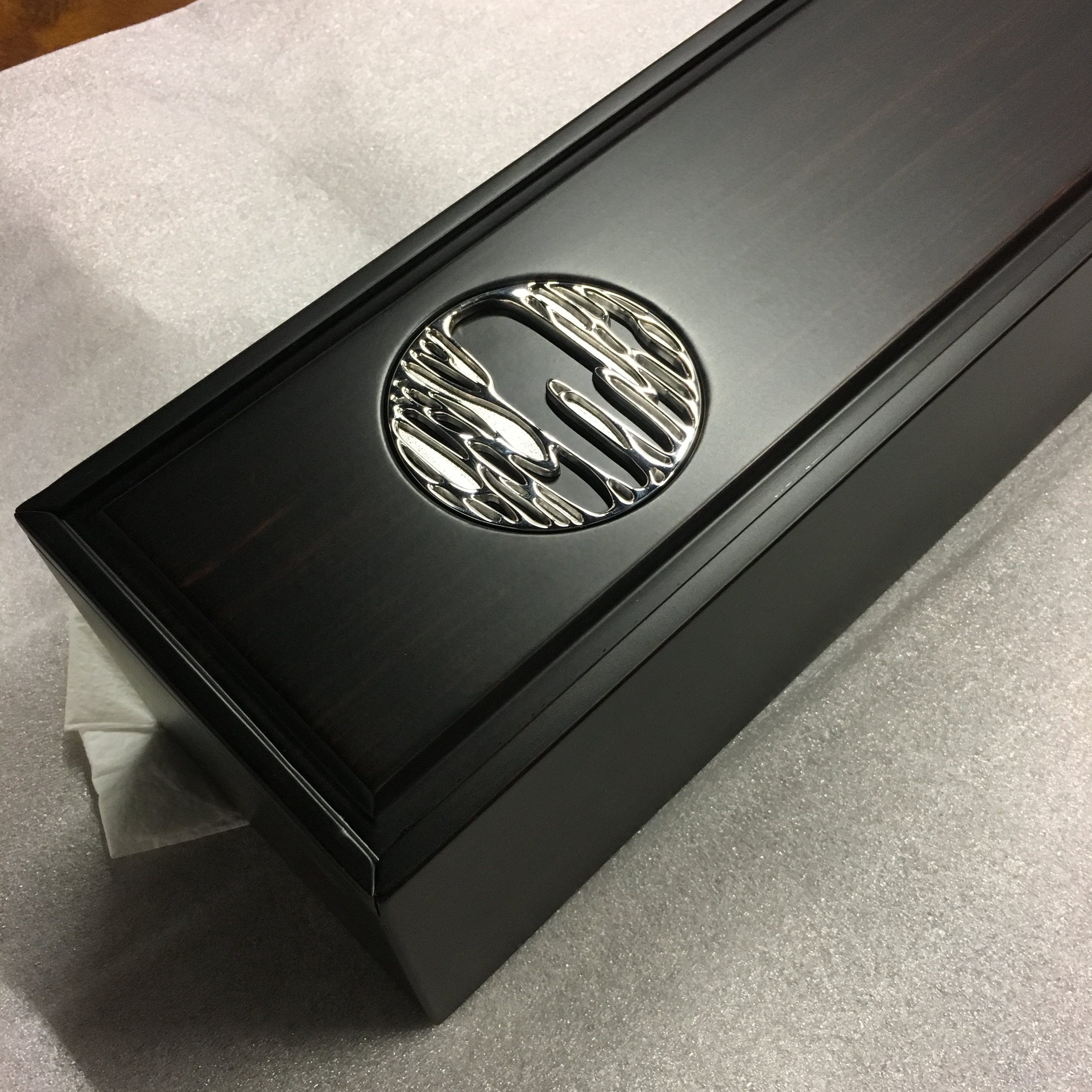 Silver decoration for scroll wooden box