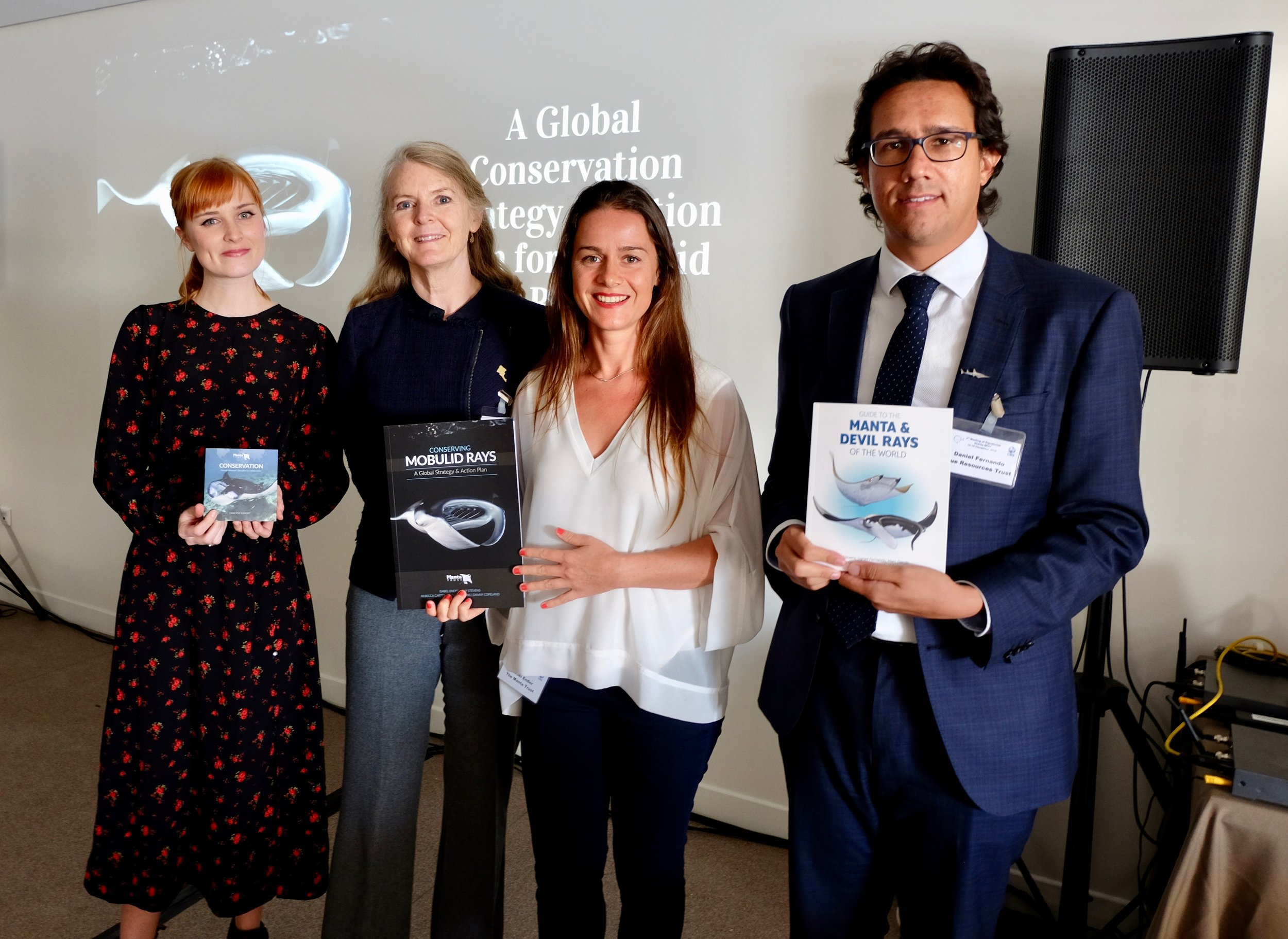 The Manta Trust team at the launch event for our Strategy & Action Plan (from left-right: Bex Carter, Sarah Fowler, Isabel Ender, Daniel Fernando).