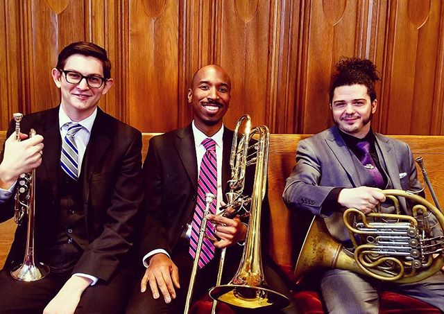 Meet the trio! David Bernard, trumpet, Bob Lewis, horn, and Craig Freeman, trombone. Follow @kzoobrasscollective for more updates! . . . #brasstrio #brassensemble #trumpet #frenchhorn #trombone #brassquintet #music #musicians