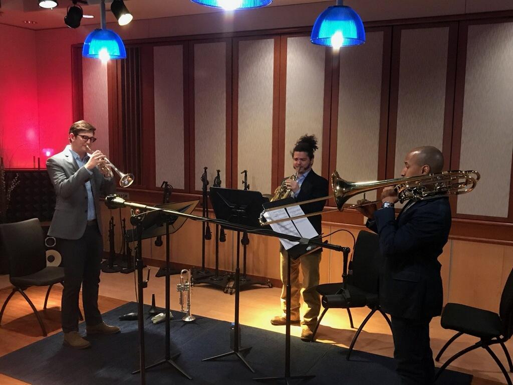 Kalamazoo Brass Collective in the WMU Takeda Studio. Credit: C Lieurance