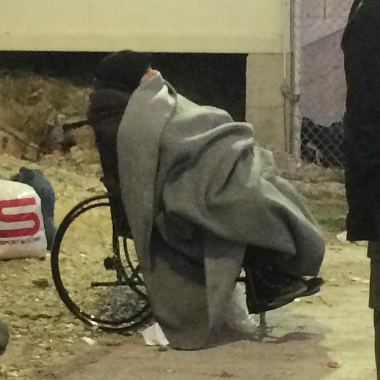 Injured elderly woman in Lesvos