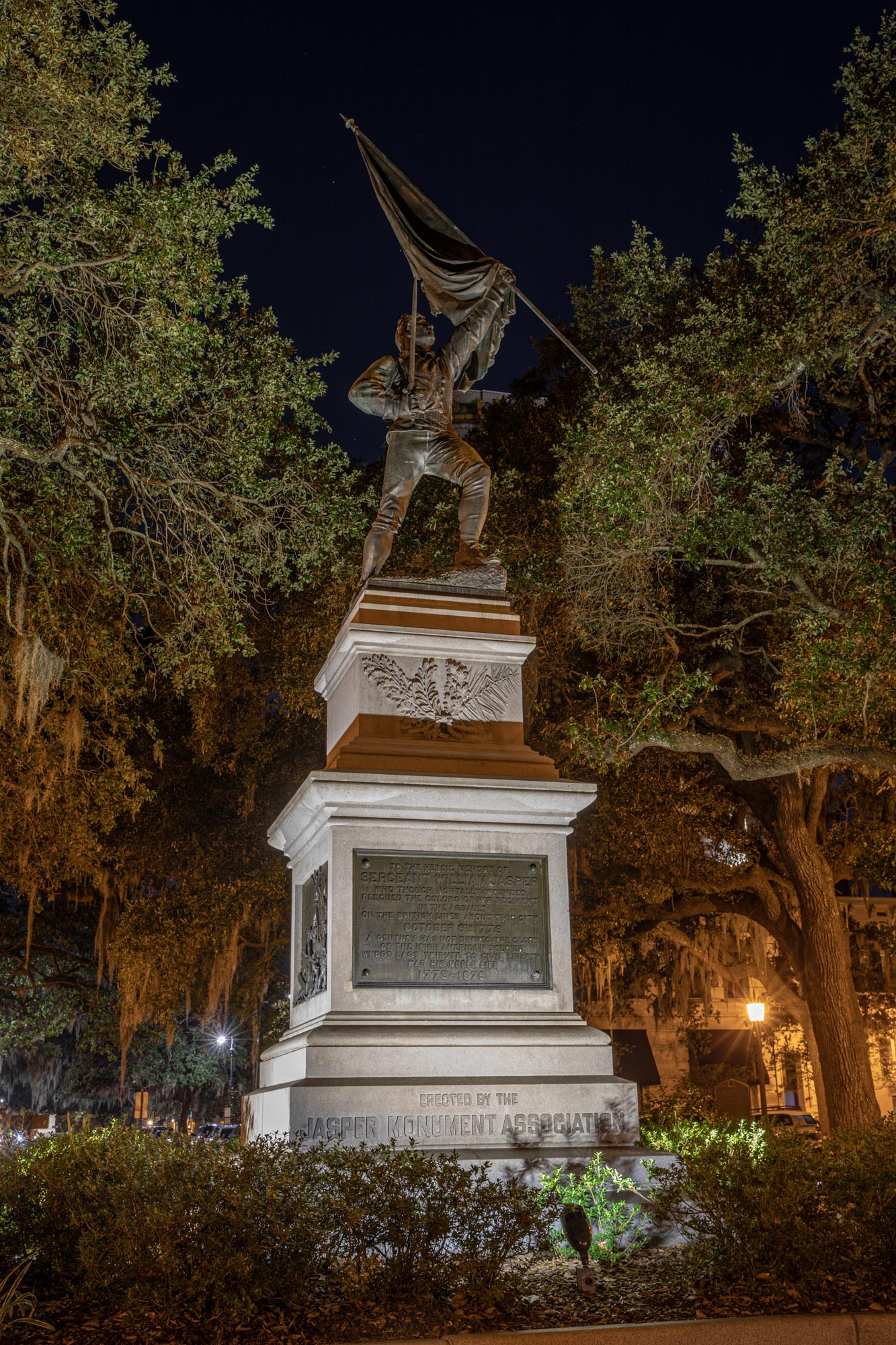 The Sergeant William Jasper monument, memorializing his death at the Siege of Savannah in October 1779 while attempting to rescue his Regiments colors.  Designed by Alexander Doyle