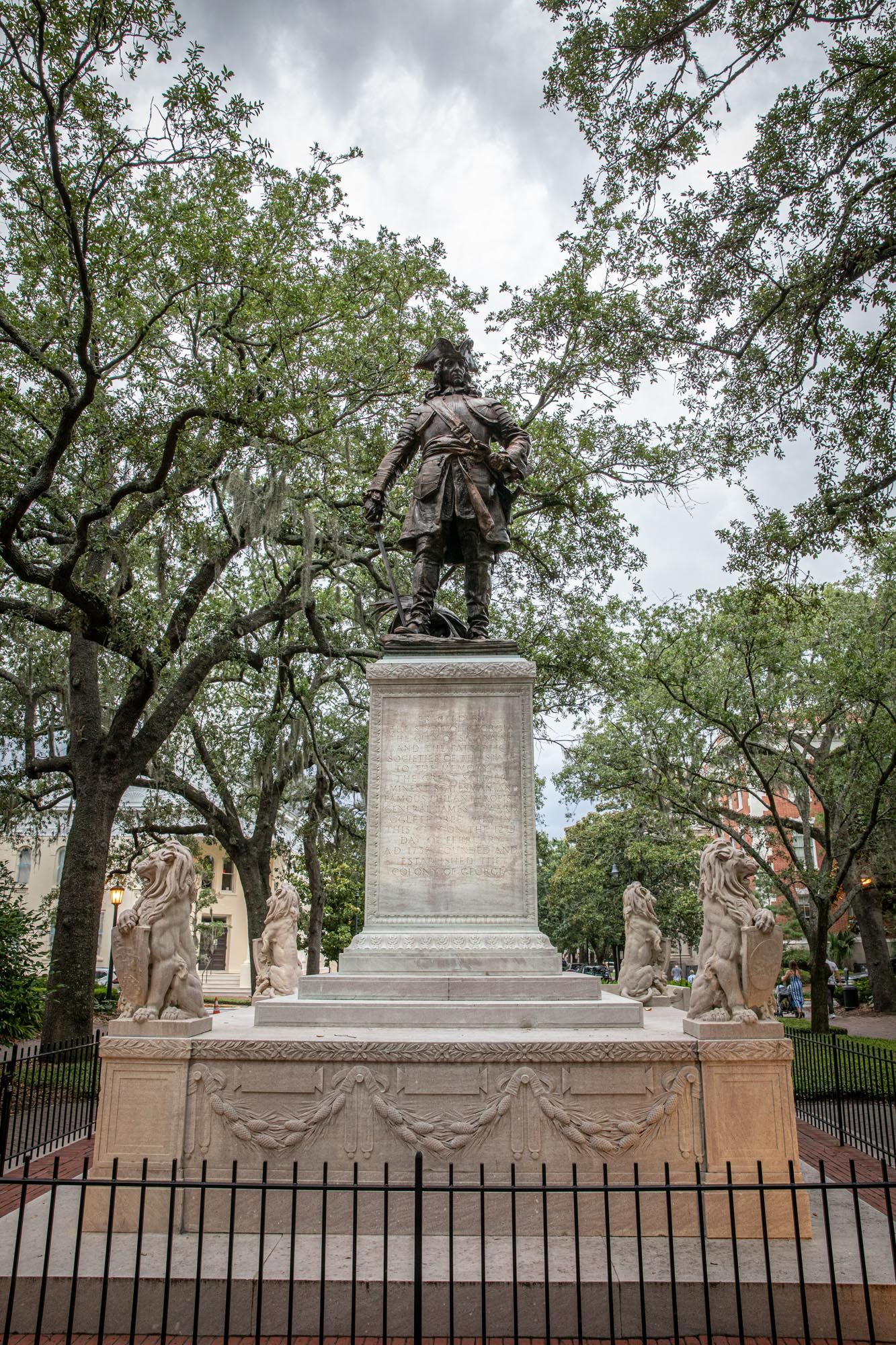 "the James Oglethorpe Monument dedicated to the founder of the Georgia Colony in 1733. He is facing south to ""keep a watchful eye on the Spanish""  Bronze by Daniel French. Base by Henry Bacon."