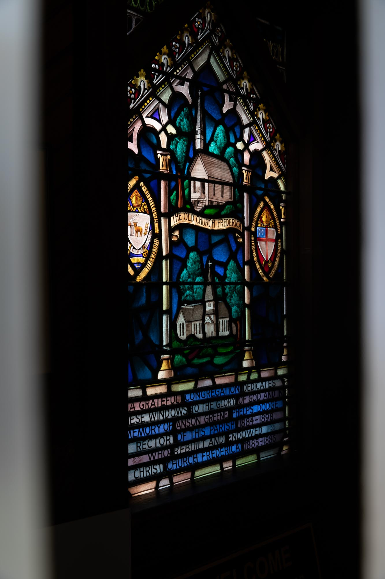 A stained glass window just inside the door to Christ Church.