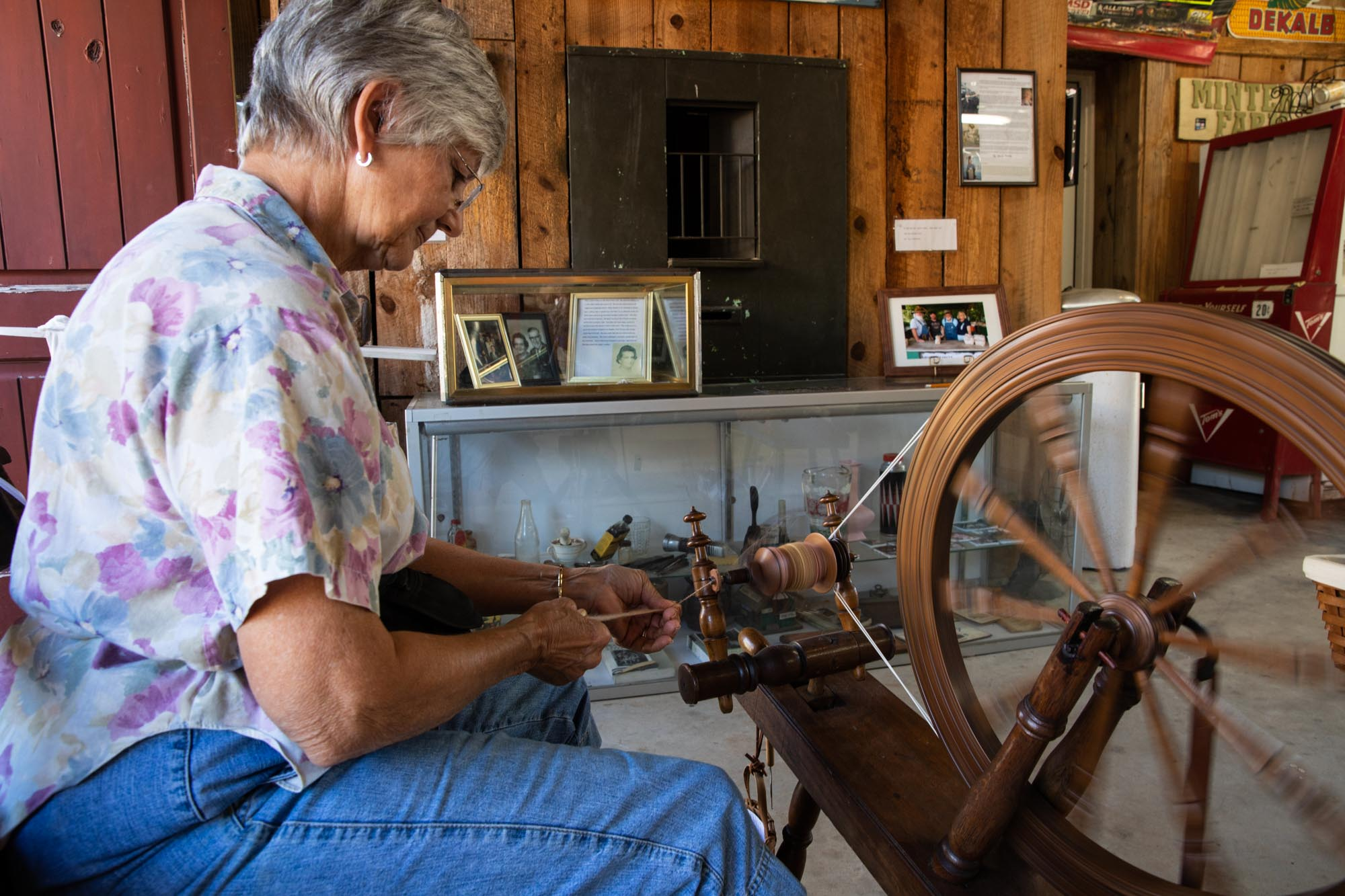 Ms Connie spinning some yarn.