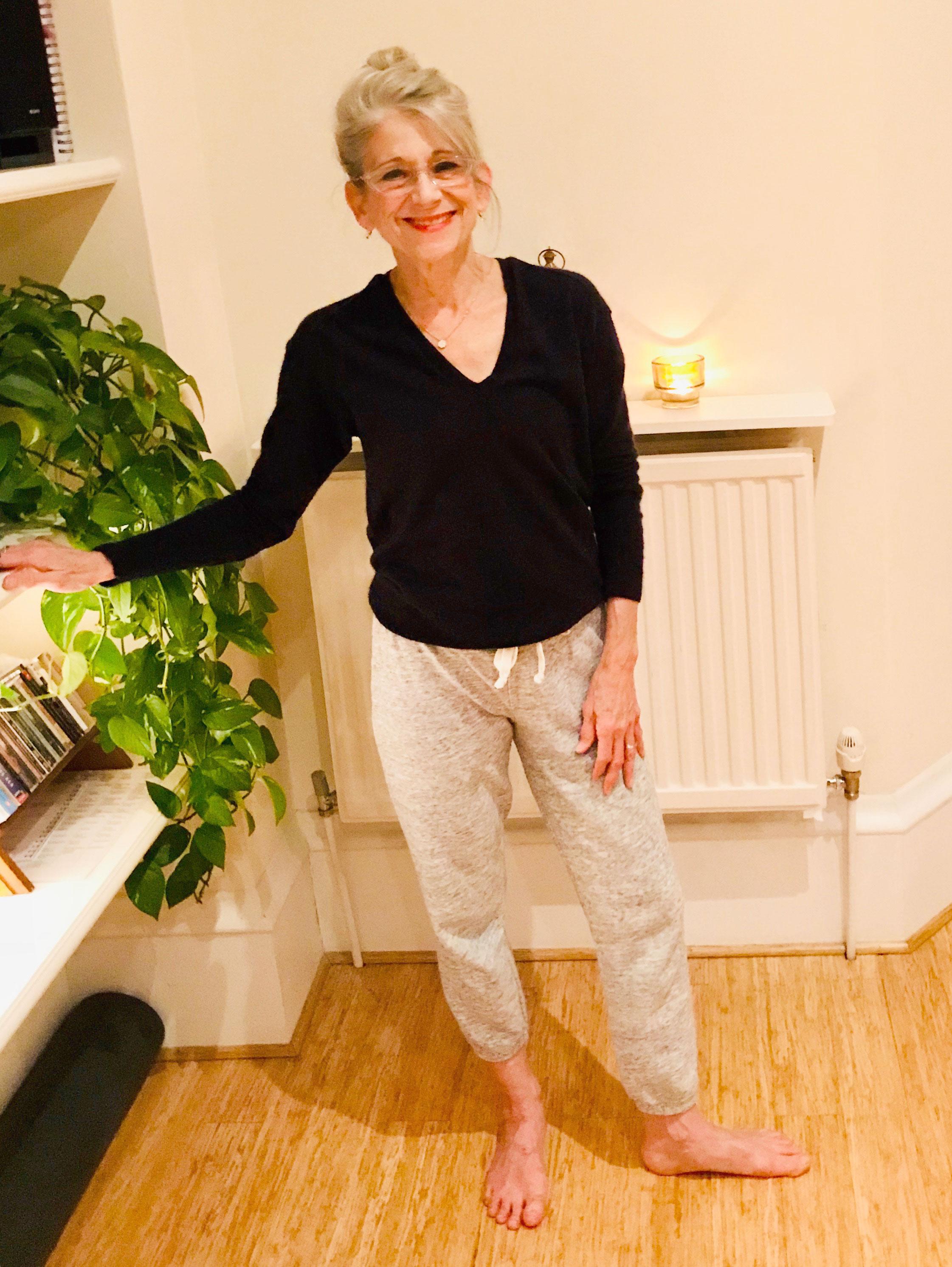Twenty years later! Mona as Guest Teacher, December 2017, at her sister Laurie Prime's studio, York Yoga, UK.