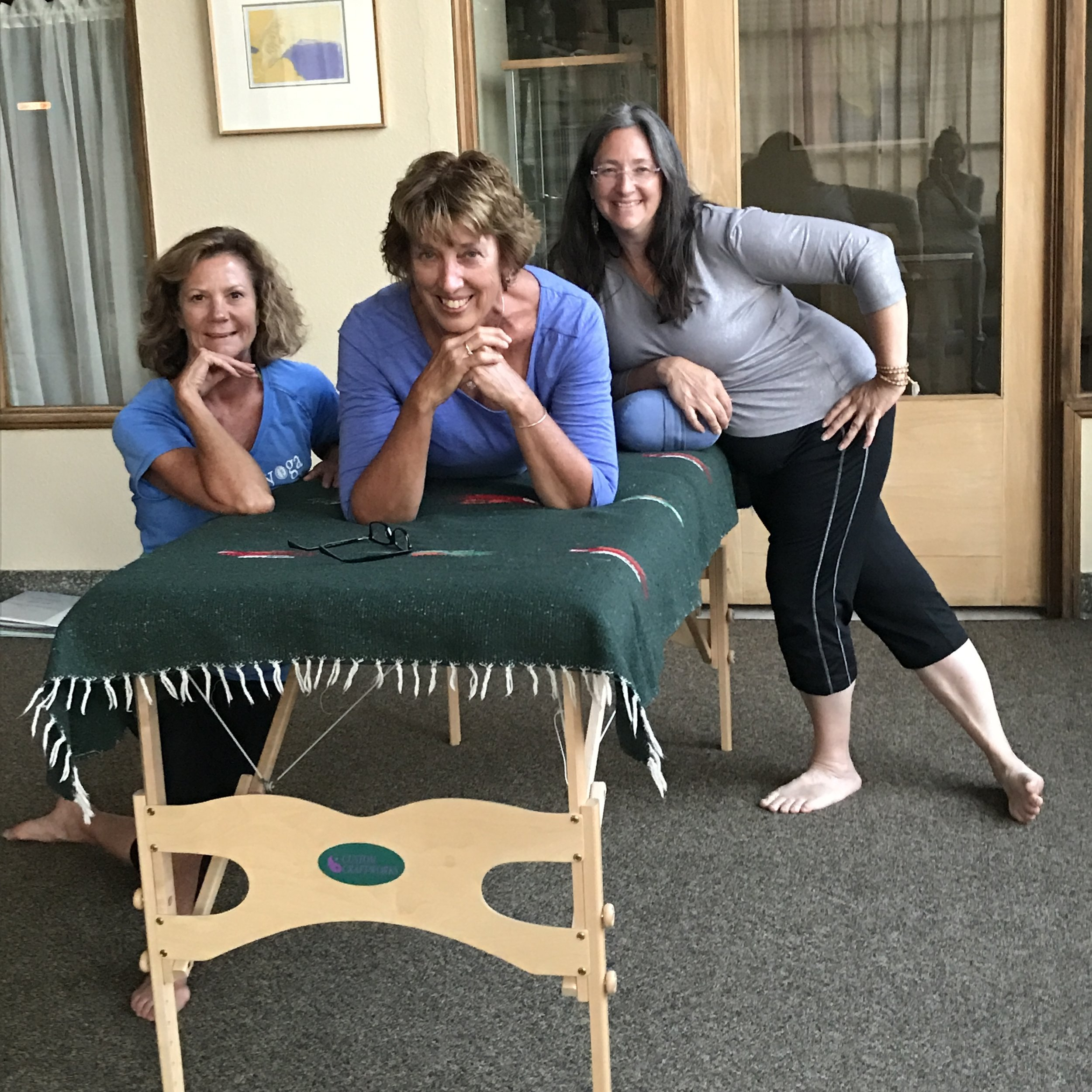 Past grads after Yoga on the Table- Sue DeBord; Mary Steinbeck; Robin Bourjaily, All from Iowa.