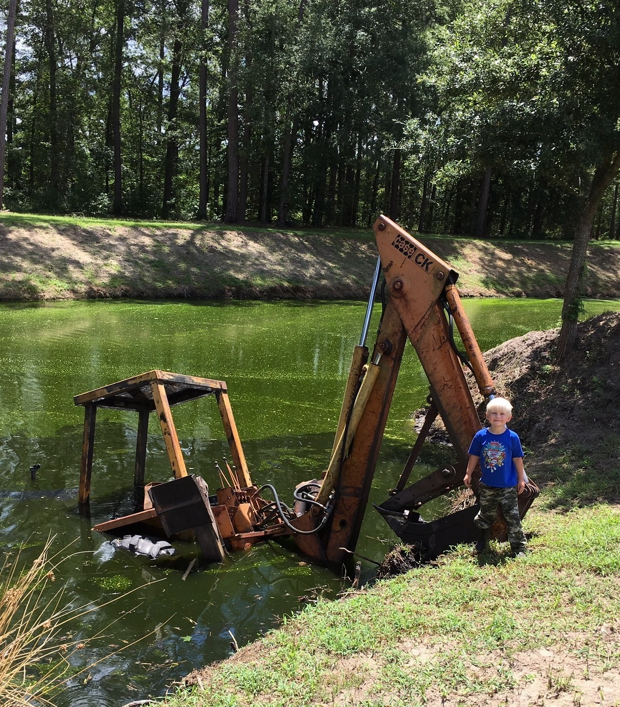 There was the day the backhoe accidentally went into the pond!