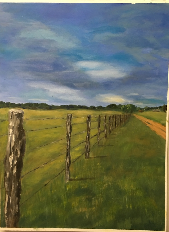 Entrance to the Partin Ranch  Oil on Paper | 18x24 | Commissioned in 2018 | SOLD