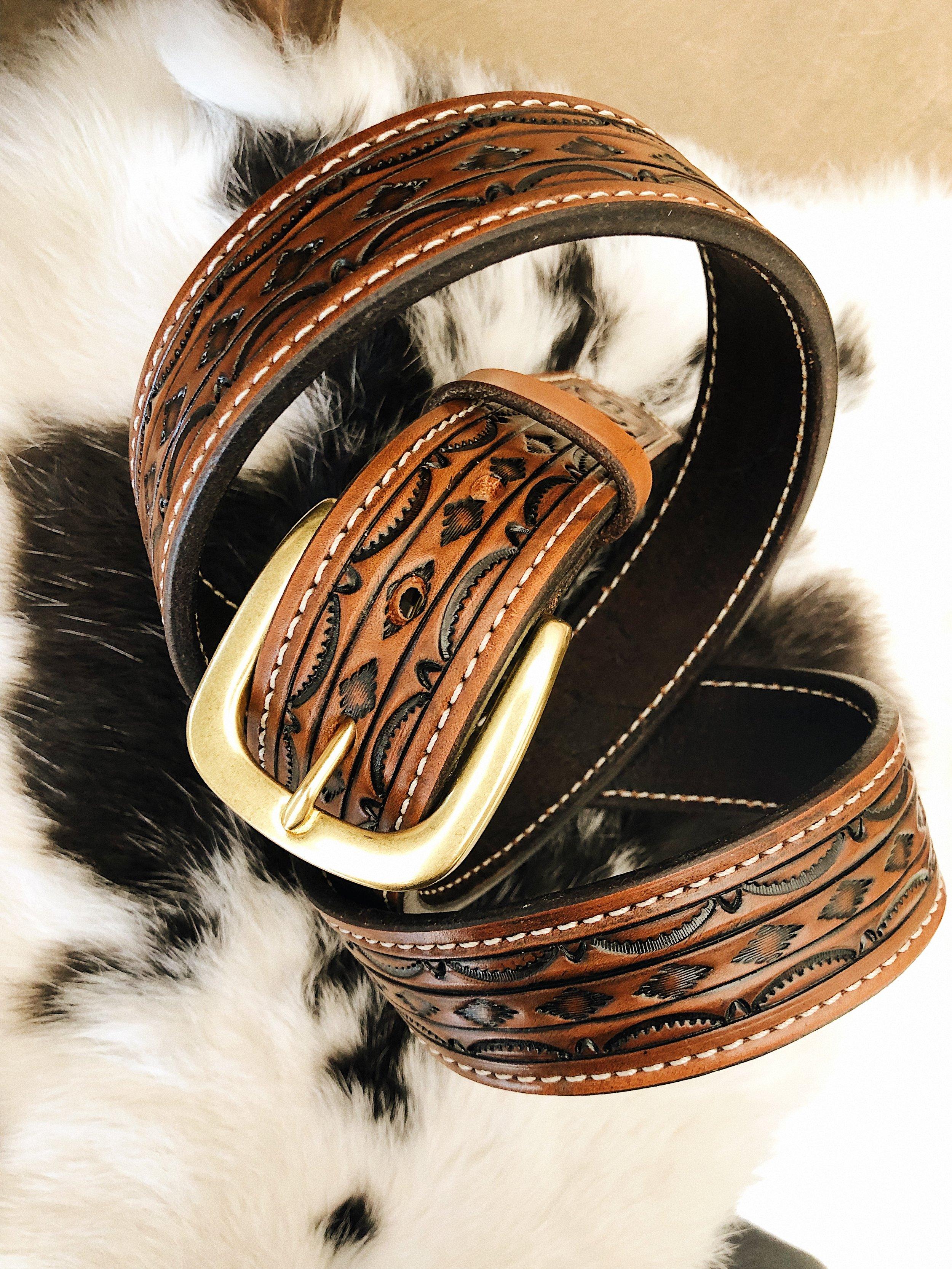 Patterned Barbered Leather Belt